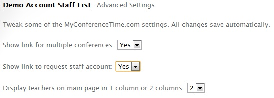 Advanced settings options for account administrators in MyConferenceTime